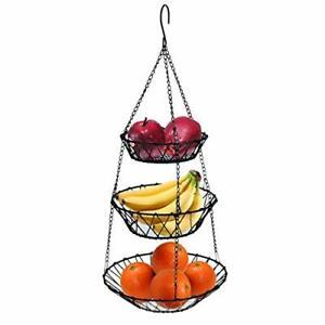 3-Tier Wire Fruit Hanging Food Basket Vegetable Kitchen Storage Basket Black