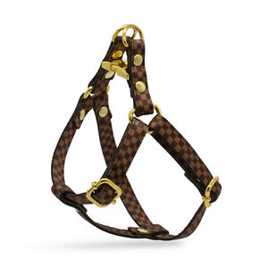 Brown Checkered Designer Dog Harness Step In Leash Set Lv Small Medium vuitton