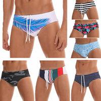 Mens Sexy Bikini Swimwear Swimming Briefs Padding Bathing Suit Floral Quick-dry