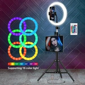 """10"""" RGB LED Ringlicht Handyhalter Ringleuchte Lampe Licht mit Stativ Fotografie"""