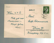 1945 May 12 Vienna Austria Postcard Cover Local Use Overprinted stamp