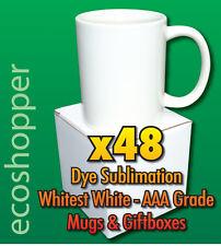 48PCS DYE SUBLIMATION BLANK WHITE MUGS WITH GIFT BOX FOR MUG HEAT PRESS SALE