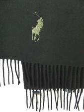 NEW Scarf POLO By Ralph Lauren BIG PONY Black NWT Wool ITALY