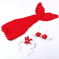 Baby Girls' Boys' Knit Crochet Mermaid Clothes Photo Prop Outfits Kids Dress