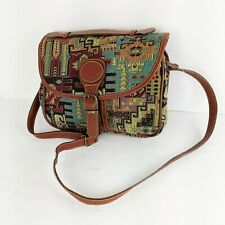 AA Genuine Leather Purse Crossbody Woven Tribal Southwest Design Adjustable