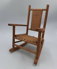 Small Vintage Wooden Rocking Chair Wood and Wicker Rocker Teddy Bear Chair