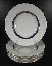 Thun Carlsbad Czech Republic Set of 6 Soup Bowls Porcelain Blue Gold Filigree