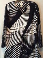 Chico's Womens Tunic Dress Black Geometric Long Sleeves Notch Neck Stretch 0