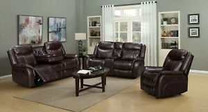 NEW Brown 3PC Sofa Loveseat Chair Leather Gel 5-Recliners Living Room USB Ports