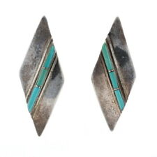 Native American Turquoise Curved Drop Earrings - Sterling Silver 925 Pierced