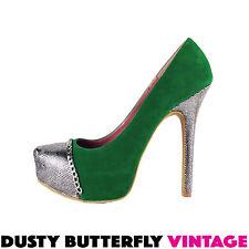 SUEDE PLATFORMS Emerald Green SILVER Stilletos Heels PUMPS Chain NEW Sz 10