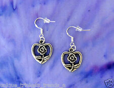 BUY 3 GET 1 FREE~FLOWER HEART SILVER EARRINGS~MOTHERS DAY GIFT FOR MOM HER WIFE