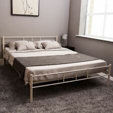 White Metal 4ft6 Double Bed Frames Divan Bases Ebay