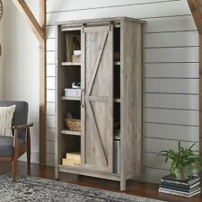 32057f19805e Tall Storage Cabinet Country Wood Rustic Farmhouse Pantry Cupboard Sliding  Door