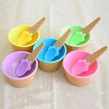 Lovely Feeding Tableware Plastic Utensil Hot Baby Kids Ice Cream Bowl Spoon Set