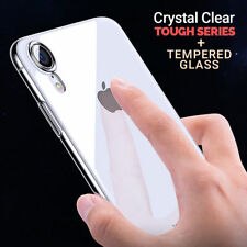 New Apple Phone XR Shockproof Silicone Gel Case Cover + Tempered Glass Protector