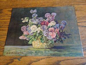M STRECKENBACH ANTIQUE LITHO ART PRINT POSTER GP715 1900S STILL LIFE FLOWERS VTG