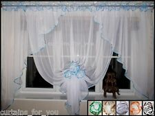 13 COLOURS READY MADE VOILE NET CURTAINS WITH FLOWERS TIE BACK AMAZING FOR YOU