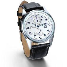 Men's Black Classic Casual 2 Time Zone Date Display Leather Quartz Wrist Watch