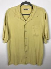 Tommy Bahama Shirt Size M Medium Yellow Embroidered Pocket Rockets Cards Silk