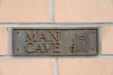 "NEW Wall Plaque, ""MAN CAVE"". Featuring Golden Fleece Wayne 605 Bowser, Gas Pump"