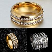 Unisex Fashion Stainless Steel Ring Men/Women's Wedding Band Silver/Gold Sz8-10