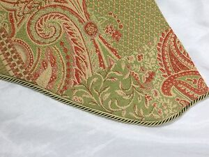 Custom  Large 2 Piece Tapestry Scalloped Valance Green Red Bronze 106x30.5x17