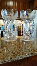 Huge 17 in tall Cut Glass Victorian Mantle Lusters with 10in crystals
