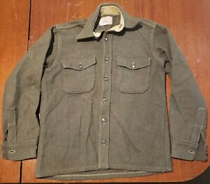 Vintage Norm Thompson Green Wool Jacket Shirt Coat Small Boy Scout Style