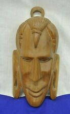 WOODEN FACE MASK STATUE WALL HANGING FIGURE SOLID WOOD