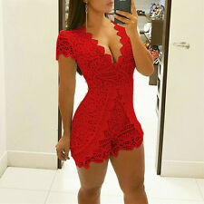US Vintage Lace Crochet V Neck Clubwear Women Body Suit Jumpsuit Casual Romper