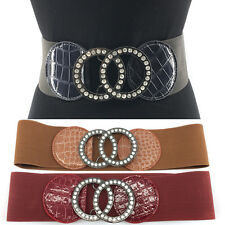WOMEN ELASTIC PU Leather WAIST WIDE BELT Stretch Western Fashion Metal Circle