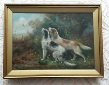 More details for setter gundog pair in woodland dog painting oil on canvas by charles dudley