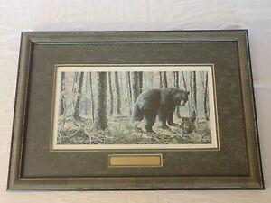 JACK PALUH SUGAR SHACK BLACK BEAR FRAMED MATTED SIGNED NUMBERED 85/275 ART PRINT