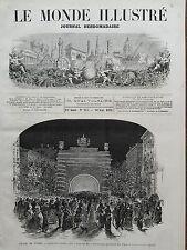 LE MONDE ILLUSTRE 1871 N 755 LES FÊTES DE TURIN  (Italie) L'ALLEE DES PLATANES