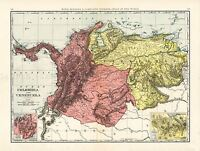 MAP ANTIQUE McNALLY 1898 COLOMBIA VENEZUELA LARGE REPLICA POSTER PRINT PAM1045
