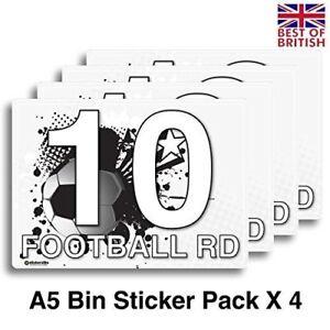 A5 [4 X Pack] - Personalised Football Grunge Wheelie Bin Stickers / Vinyl Lab...
