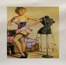Pin up Girl Dress Making- Printed Fabric Panel Make a Cushion Upholstery Craft 16x16inch