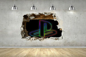 PS4 Rainbow Logo 3D SMASH Wall Stickers Fort Gamer Nite Gaming Decals