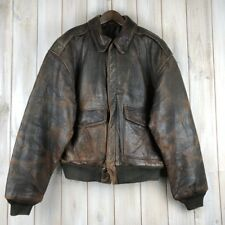 Vintage Avirex Distressed A-2 Bomber Flying Flight Aviator Leather Jacket L / XL