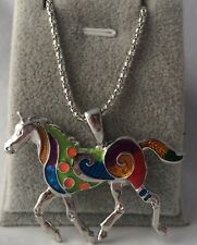 Silver Plated Multicolor unicorn Horse Pendant With Chain