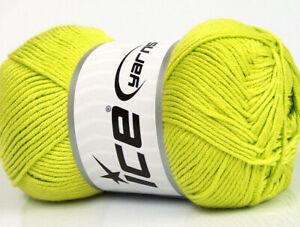Lot of 4 x 100gr Skeins Ice Yarns BAMBOO SOFT (50% Bamboo) Yarn Light Green