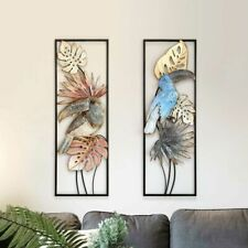 Wrought Iron Wall Hanging 3D Flower Bird Shape Mural Modern Creative Decorations