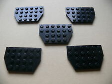 Lego 5 plates noires set 7713 7662 10663 / 5 black plate w/ cut corners