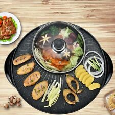 2 In 1 Electric Stone Coated Teppanyaki Grill Plate Steamboat Hotpot 3-5 Person