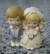 "Vintage wedding cake topper small 2"" plastic bride and groom"