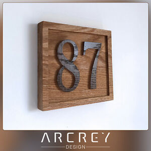 PERSONALISED OAK ADDRESS SIGN CUSTOM ENGRAVED OUTDOOR WOODEN NUMBER HOUSE PLAQUE