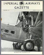 IMPERIAL AIRWAYS GAZETTE NOVEMBER 1934 CALCUTTA - LONDON