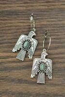 Vintage 925 Silver Turquoise Earrings Bird Ear Hook Dangle Drop Gift Jewelry