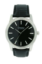 Caravelle by Bulova 43A107 Men's Black Round Analog Black Leather Watch